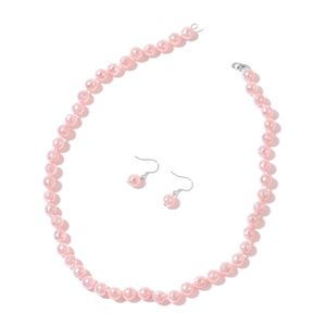 Pink Chroma Faceted Beads Sterling Silver Earrings and Necklace (18 in)