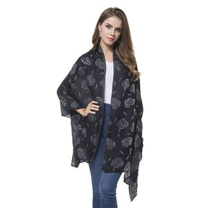 Black 3D Rose Pattern 100% Polyester Reversible Shawl Wrap or Scarf (74x27.5 in)