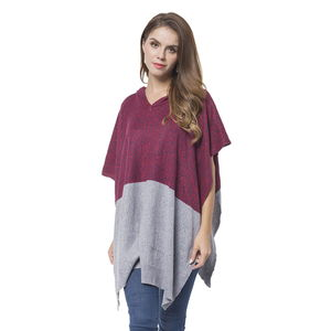 Wine Red and Gray 100% Acrylic Block Pattern Hooded Poncho (One Size)