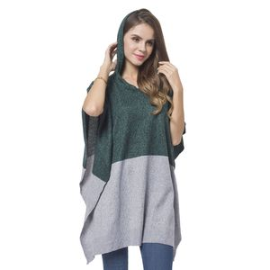 Green and Gray 100% Acrylic Block Pattern Hooded Poncho (One Size)