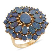 Australian Boulder Opal 14K YG Over Sterling Silver Floral Ring (Size 6.0) TGW 8.46 cts.