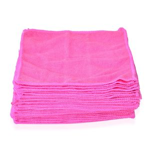 Set of 30 Pink Microfiber Cleaning Towels (10x10 in)
