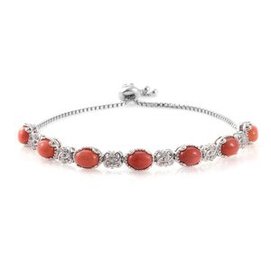 Oregon Peach Opal, Cambodian Zircon Platinum Over Sterling Silver Bracelet (Adjustable) TGW 4.98 cts.