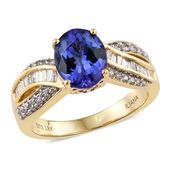 One Day TLV ILIANA 18K YG Premium AAA Tanzanite, Diamond Ring (Size 7.0) TDiaWt 0.44 cts, TGW 3.44 cts.