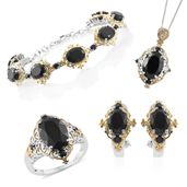 Thai Black Spinel 14K YG and Platinum Over Sterling Silver Bracelet (7.50 in), Earrings, Ring (Size 7) and Pendant With Chain (20.00 In) TGW 46.98 cts.
