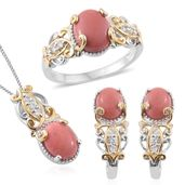 Oregon Peach Opal, Cambodian Zircon 14K YG and Platinum Over Sterling Silver J-Hoop Earrings, Ring (Size 10) and Pendant With Chain (20 in) TGW 4.96 cts.