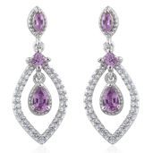 Madagascar Purple Sapphire, Cambodian Zircon Platinum Over Sterling Silver Dangling Earrings TGW 1.36 cts.