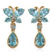 Mega Clearance Madagascar Paraiba Apatite 14K YG Over Sterling Silver Butterfly Drop Earrings TGW 5.39 cts.