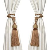 Brown and Gray 50% Polyester & 50% Cotton Two Panel Curtain Tie Back Ball Tassel (26-27 in)