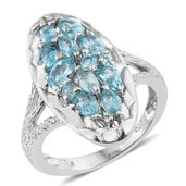 Madagascar Paraiba Apatite, Cambodian Zircon Platinum Over Sterling Silver Elongated Ring (Size 8.0) TGW 2.32 cts.