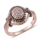 Natural Pink and Champagne Diamond Black Rhodium and 14K RG Over Sterling Silver Ring (Size 8.0) TDiaWt 1.00 cts, TGW 1.00 cts.
