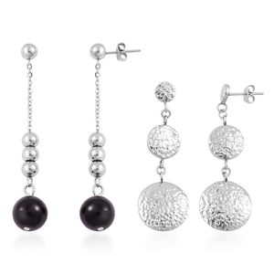 Black Glass and Stainless Steel Set of 2 Dangle Earrings TGW 10.00 cts.