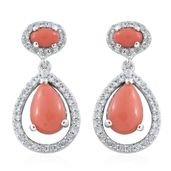 Oregon Peach Opal, Cambodian Zircon Platinum Over Sterling Silver Dangling Earrings TGW 2.86 cts.