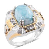 Larimar, White Topaz 14K YG and Platinum Over Sterling Silver Anchor Men's Ring (Size 10.0) TGW 13.07 cts.