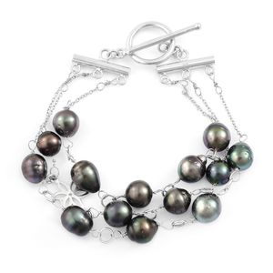 Tahitian Pearl Sterling Silver Triple Strand Bracelet with Toggle Clasp  (7.50 In)