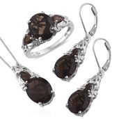 Brazilian Smoky Quartz, Cambodian Zircon Platinum Over Sterling Silver Lever Back Earrings, Ring (Size 6) and Pendant With Chain (20 in) TGW 16.80 cts.