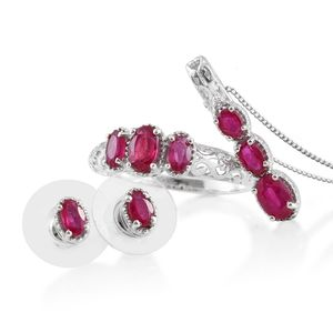 Niassa Ruby Platinum Over Sterling Silver Ring (Size 7), Earrings and Pendant With Chain (20 in) TGW 3.59 cts.