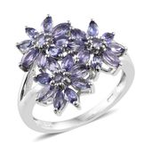 Tanzanite Platinum Over Sterling Silver Floral Ring (Size 9.0) TGW 1.98 cts.