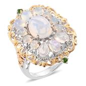 Ethiopian Welo Opal, Russian Diopside 14K YG and Platinum Over Sterling Silver Ring (Size 6.0) TGW 4.34 cts.