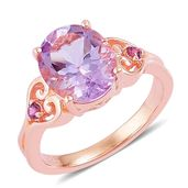 Rose De France Amethyst, Orissa Rhodolite Garnet 14K RG Over Sterling Silver Statement Ring (Size 8.0) TGW 3.30 cts.