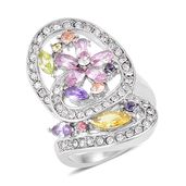 White Austrian Crystal, Simulated Multi Color Diamond Stainless Steel Asymmetric Flower Ring (Size 7.0) TGW 6.30 cts.