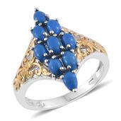 Ceruleite 14K YG and Platinum Over Sterling Silver Elongated Ring (Size 10.0) TGW 2.02 cts.