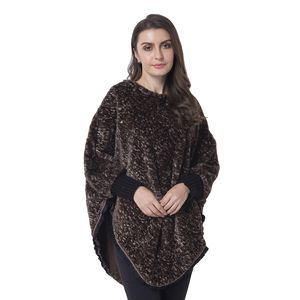 Brown 100% Polyester and Faux Fur Scoop Neck V-Shape Poncho with Lace Border (One Size)