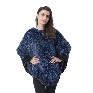 Navy 100% Polyester and Faux Fur Scoop Neck V-Shape Poncho with Lace Border (One Size)