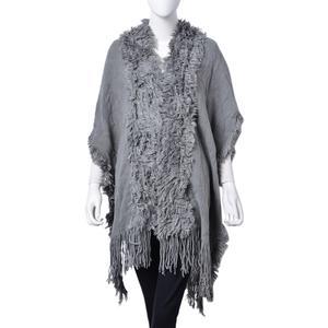 Grey 100% Acrylic Open Front Kimono (35.44x37.40 in) with Tassel