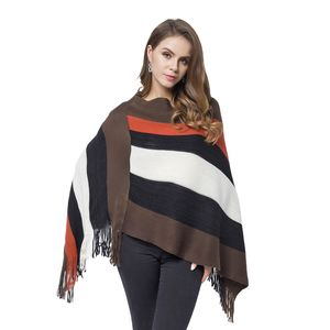 Burnt Orange, Brown, and Black 100% Acrylic Strip Pattern V-Shape Poncho with Fringes (One Size)