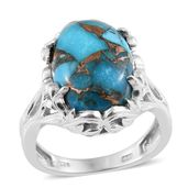 Karen's Fabulous Finds Mojave Blue Turquoise Platinum Over Sterling Silver Ring (Size 10.0) TGW 12.40 cts.