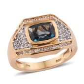 Karen's Fabulous Finds London Blue Topaz, Cambodian Zircon 14K YG Over Sterling Silver Ring (Size 8.0) TGW 3.45 cts.