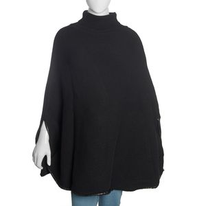 Black Merino Wool Turtleneck Cape Poncho with Leather Trim and Arm Holes (One Size)