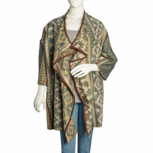 Brown and Blue 100% Acrylic Open Waterfall Cardigan Sweater (X/XL)