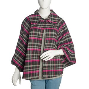 Black, Gray, and Fuchsia 100% Acrylic Plaid Button Cape with Collar (One Size)