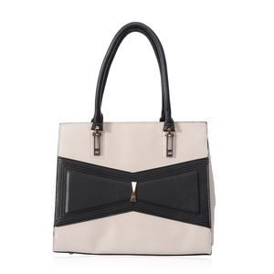 Cream and Black Geometric Bowtie Faux Leather Tote Bag with Removable Strap (52 in) Standing Stud (12.5x6x10 in)