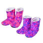 Doorbuster Purple and Pink Floral Print 100% Polyester Set of 2 Booties House Slipper (S-M)