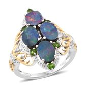 Australian Boulder Opal, Russian Diopside, Cambodian Zircon 14K YG and Platinum Over Sterling Silver Ring (Size 6.0) TGW 4.05 cts.
