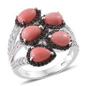 Oregon Peach Opal, Cambodian Zircon, Thai Black Spinel Black Rhodium and Platinum Over Sterling Silver Bypass Ring (Size 9.0) TGW 4.21 cts.