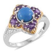 Ceruleite, Amethyst 14K YG and Platinum Over Sterling Silver Ring (Size 8.0) TGW 1.83 cts.
