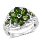 Russian Diopside Platinum Over Sterling Silver Flower Ring (Size 6.0) TGW 3.70 cts.