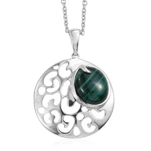 African Malachite Sterling Silver Pendant With Stainless Steel Chain (20 in) TGW 7.40 cts.