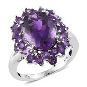 Lusaka Amethyst Platinum Over Sterling Silver Ring (Size 10.0) TGW 7.85 cts.
