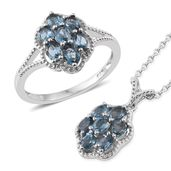 Karen's Fabulous Finds London Blue Topaz Platinum Over Sterling Silver Ring (Size 9) and Pendant With Chain (20 in) TGW 2.90 cts.