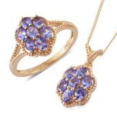 Tanzanite (2A) 14K YG Over Sterling Silver Ring (Size 5) and Pendant With Chain (20 in) TGW 2.40 cts.