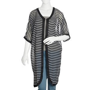 Black and White Stripe Print 100% Polyester Long Sheer Chiffon Evevning Jacket