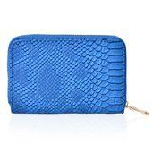 Blue Snake Skin Pattern Vegan Leather Wallet (6x1x4 in)