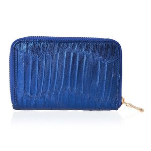 Navy Faux Leather Wallet (6x1x4 in)