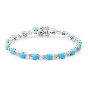 One Day TLV Deal Arizona Sleeping Beauty Turquoise, White Zircon Sterling Silver Bracelet (8.00 In) TGW 7.60 cts.