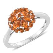 Salamanca Fire Opal Platinum Over Sterling Silver Floral Ring (Size 10.0) TGW 1.04 cts.